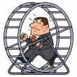 Illustration of the tired businessman running in a...