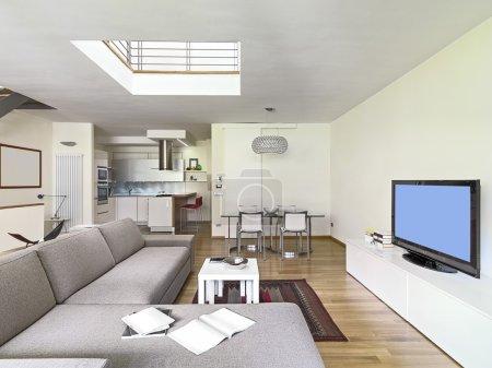 Modern living room in the attic room