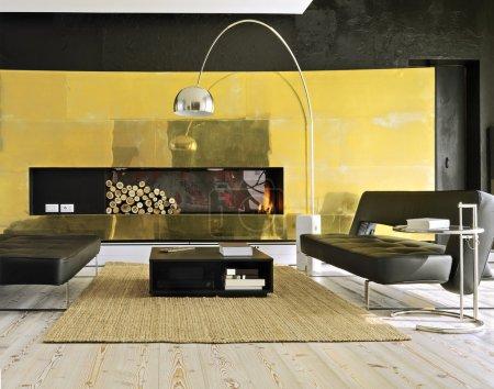 Photo pour Deux canapés modernes en cuir près de la cheminée dans le salon moderne - image libre de droit
