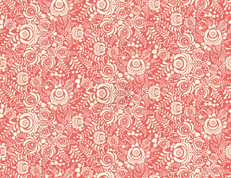 Illustration for Red floral textile vector seamless pattern in Russian gzhel style - Royalty Free Image