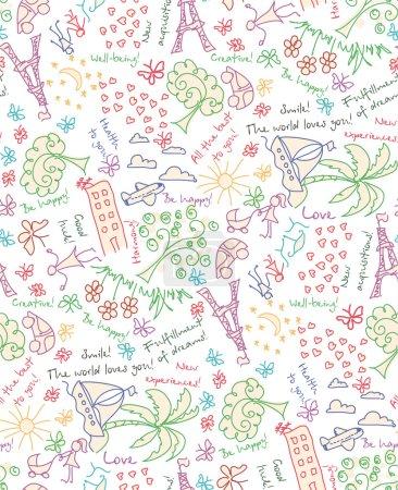 Photo pour Doodle Objectifs rêves et souhaits motif sans couture. Dessiner votre fond de vie heureuse - image libre de droit