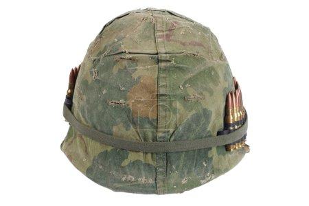 US Army helmet with ammo belt