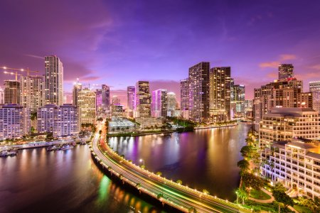 Photo for Miami, Florida, USA downtown skyline at night. - Royalty Free Image