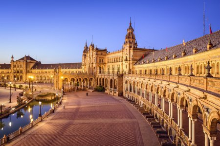 Photo for Seville, Spain at Spanish Square (Plaza de Espana). - Royalty Free Image