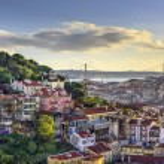 Lisbon, Portugal skyline at Sao Jorge Castle....