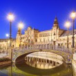 Seville, Spain at Spanish Square (Plaza de Espana)...