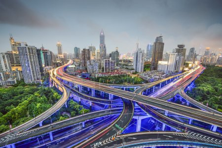 Shanghai, China cityscape obove highway junctions....