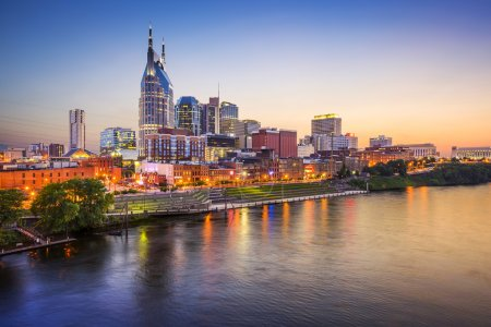 Photo for Nashville, Tennessee, USA downtown skyline on the Cumberland River. - Royalty Free Image