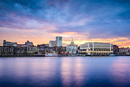 Photo for Savannah, Georgia, USA downtown skyline at the riverfront at dusk. - Royalty Free Image