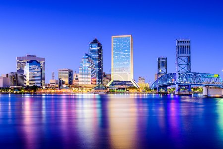 Photo for Jacksonville, Florida, USA downtown city skyline on St. Johns River. - Royalty Free Image