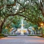 Savannah, Georgia, USA at Forsyth Park Fountain....