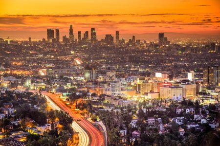 Photo for Los Angeles, California, USA downtown skyline at dawn. - Royalty Free Image