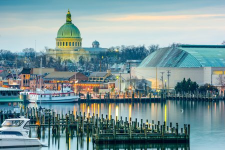 Photo for Annapolis, Maryland, USA town skyline at Chesapeake Bay with the United States Naval Academy Chapel dome. - Royalty Free Image