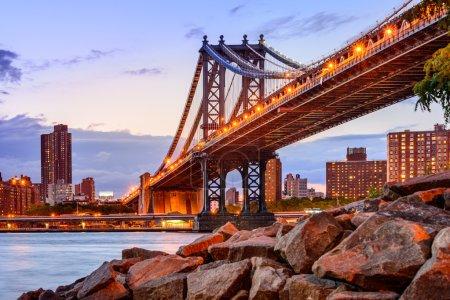 Photo pour New York City, Usa à la Manhattan Bridge qui enjambe la rivière East. - image libre de droit