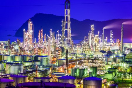 Oil Refineries at night