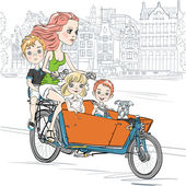 Young beautiful mother carries cute child and dog on the bike in Amsterdam