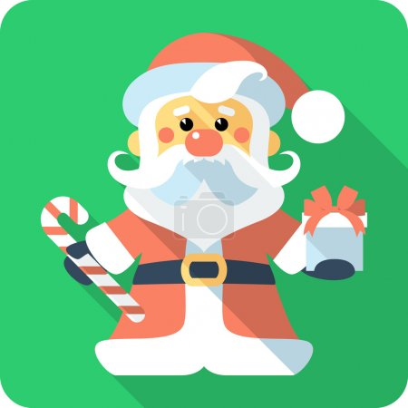 Santa Claus with gifts icon flat design