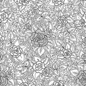 Vector seamless black and white pattern of spirals swirls doodles