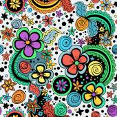 Vector seamless color pattern of spirals swirls doodles and flowers