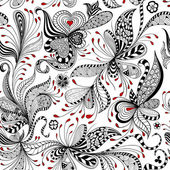 Vector seamless black red and white pattern of spirals swirls doodles