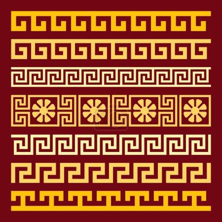 vector set gold Greek ornament Meander