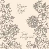 Vector rHenna mehndi floral pattern of spirals swirls doodles