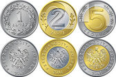 Vector reverse and obverse Polish Money one two and five zloty gold and silver coins with Value and eagle in golden crown