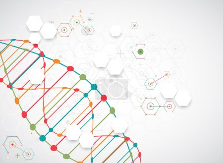 Illustration for Scientific template with DNA molecules, colorful waves. Vector illustration. - Royalty Free Image