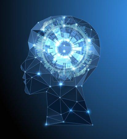 Illustration pour Concept de cerveau créatif avec grille triangulaire. Concept d'intelligence artificielle. Illustration de science vectorielle - image libre de droit