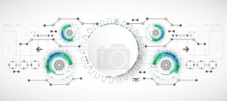 Illustration for Abstract technological background with various elements. Vector - Royalty Free Image