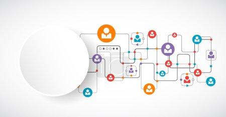 Illustration pour Concept de réseau. Médias sociaux. Vector - image libre de droit