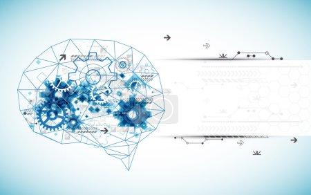 Illustration pour Cerveau numérique abstrait, concept technologique. Vecteur - image libre de droit