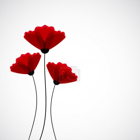 Illustration for Abstract nature background with Red poppy flowers - Royalty Free Image