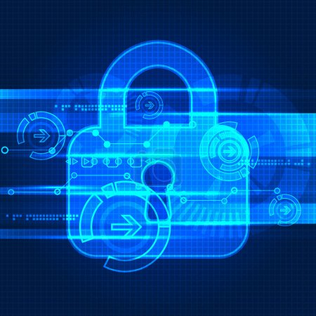Illustration for Protecting digital encoding. Padlock and decoding algorithm, script programming, safety and protect system in bright blue color - Royalty Free Image