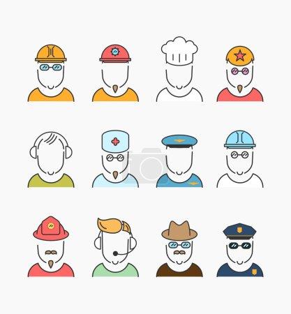 Illustration pour Diverses professions, profession professionnelle icônes concept de collection . - image libre de droit