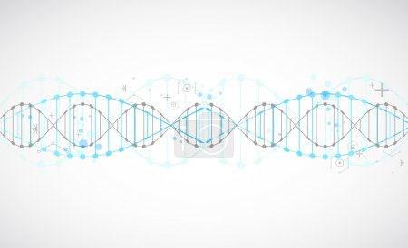 Photo for Science template, wallpaper or banner with a DNA molecules. Vector illustration. - Royalty Free Image
