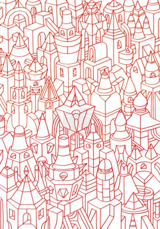 hand made sketch of geometric forms/buildings