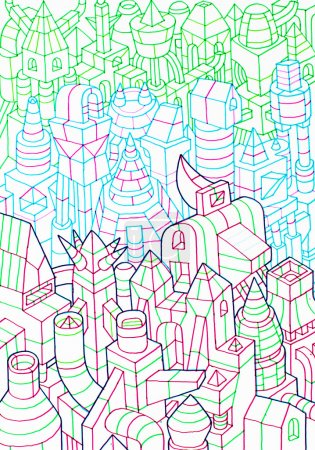 hand drawn of buildings, forming a community