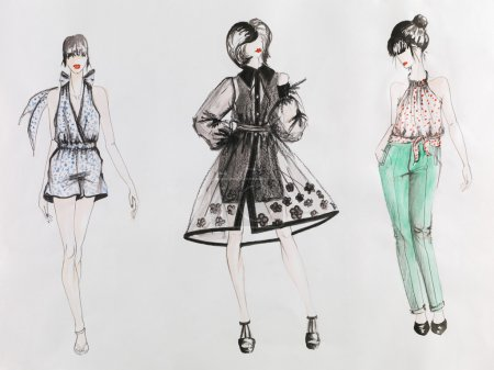 Photo for Hand drawn fashion sketch. women in colored dresses. watercolor and pencil drawing - Royalty Free Image