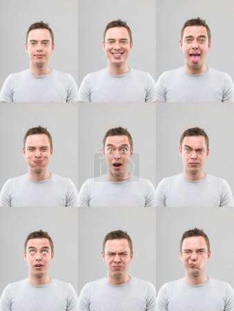 Photo for Young man with different facial expressions. digital composite image - Royalty Free Image