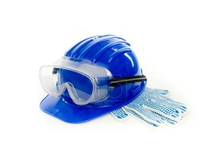 Photo pour Vêtements de travail de sécurité sur fond blanc - image libre de droit