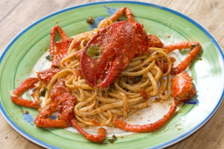 Photo for Linguine with lobster and fresh cherry tomatoes - Royalty Free Image