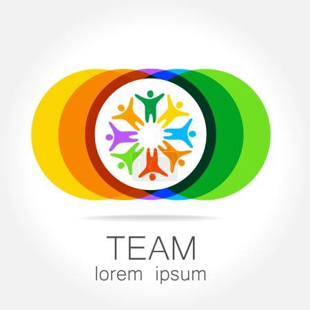Illustration for Team logo template. Social media marketing idea.   Corporate symbol. Social network. - Royalty Free Image