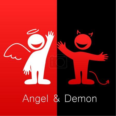 Illustration pour Anges et démons - symboles du bien et du mal. - image libre de droit