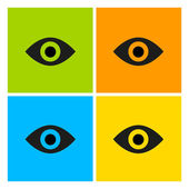 Eyes on a colored background Template for design The character set in the pop art style