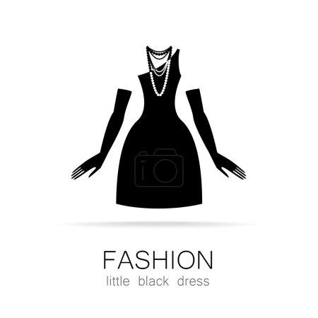 Illustration pour Robe noire - mode classique. Modèle de logo pour une boutique de vêtements, robes de la marque de la boutique pour femmes. - image libre de droit