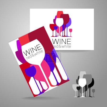 Illustration pour Vin - logo. Modèle Concept d'identité d'entreprise pour la boutique de vin, bar, production. Carte de visite . - image libre de droit
