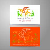 Fitness logo Corporate design template business card sports club fitness center beauty salon and others