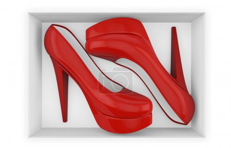 New red high heel shoes in box