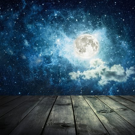 Night sky with stars and full moon, wooden planks